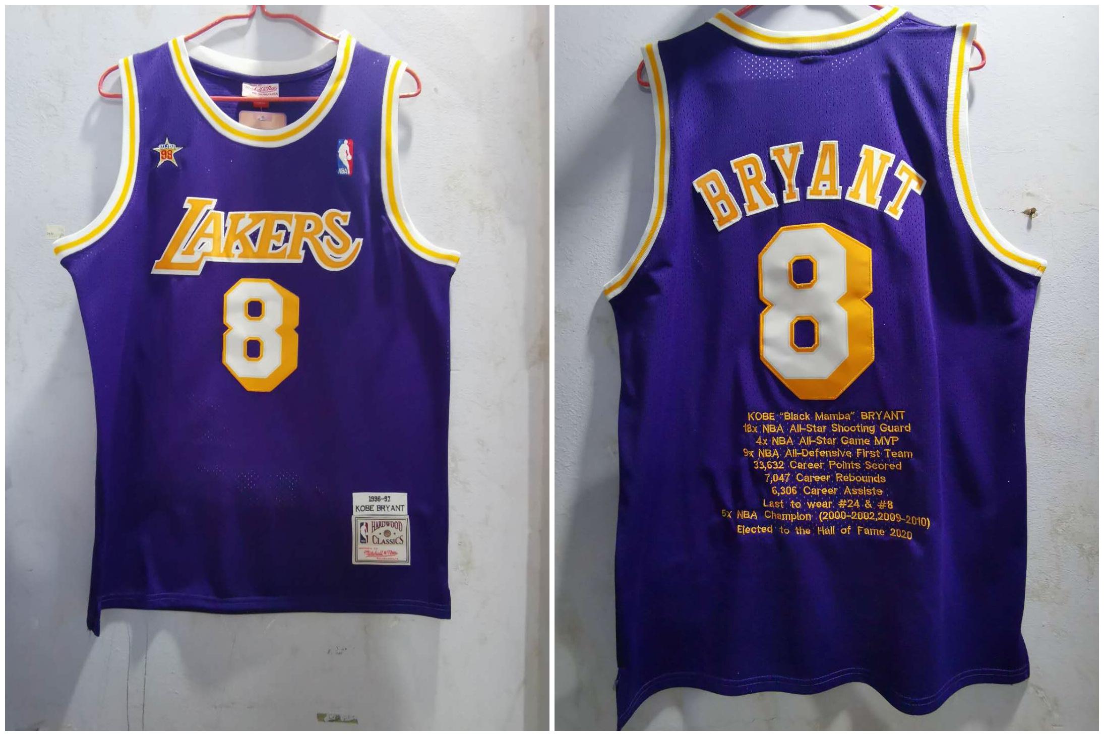 Lakers 8 Kobe Bryant Purple 1996-97 Hardwood Classics Jersey