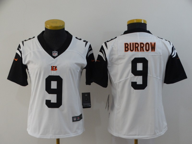 Nike Bengals 9 Joe Burrow Black Women 2020 NFL Draft First Round Pick Color Rush Limited Jersey