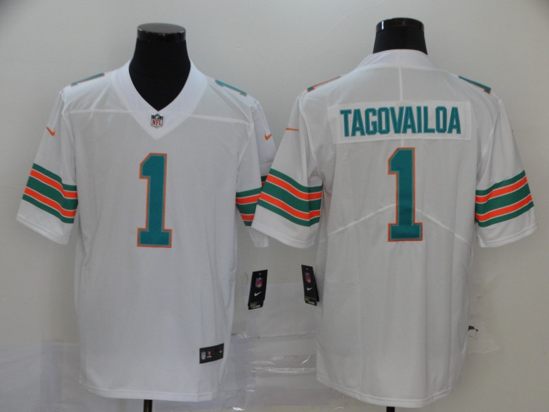 Nike Dolphins 1 Tua Tagovailoa White Throwback Vapor Untouchable Limited Jersey