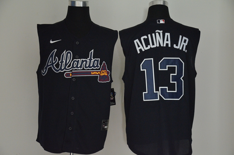 Braves 13 Ronald Acuna Jr. Navy Nike Cool Base Sleeveless Jersey