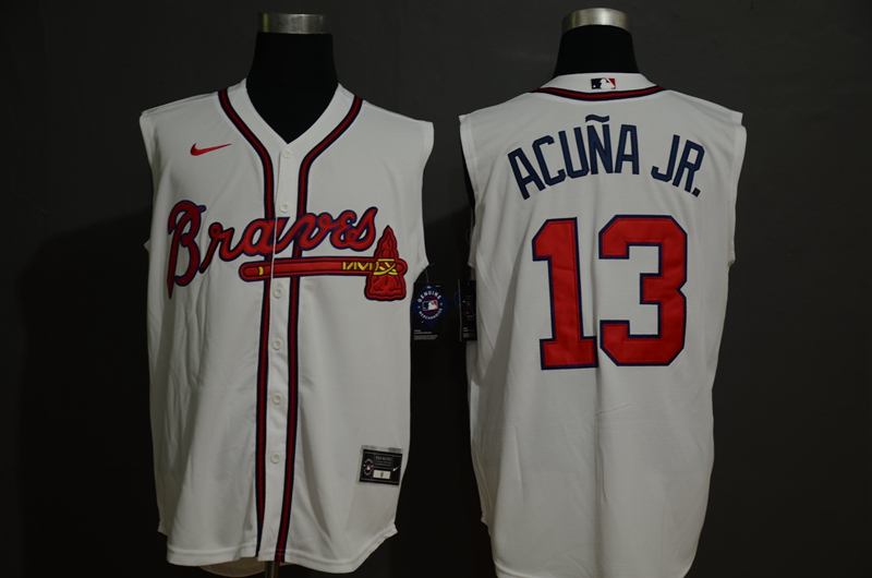 Braves 13 Ronald Acuna Jr. White Nike Cool Base Sleeveless Jersey
