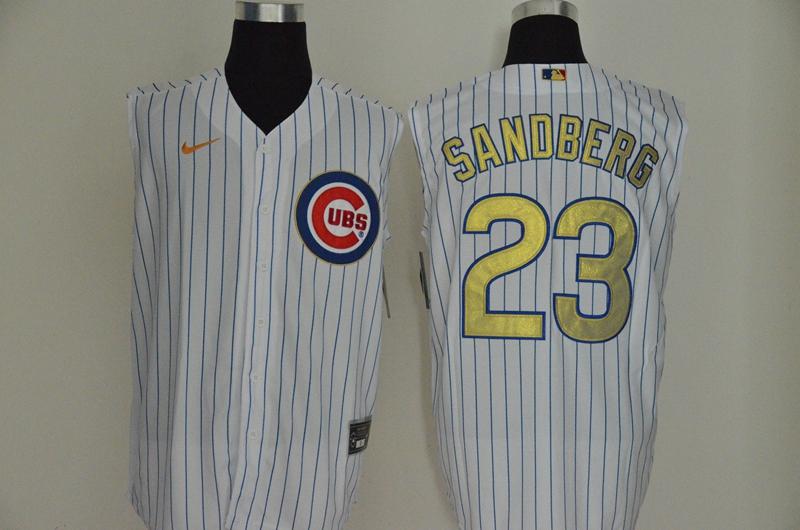 Cubs 23 Ryne Sandberg White Gold Nike Cool Base Sleeveless Jersey