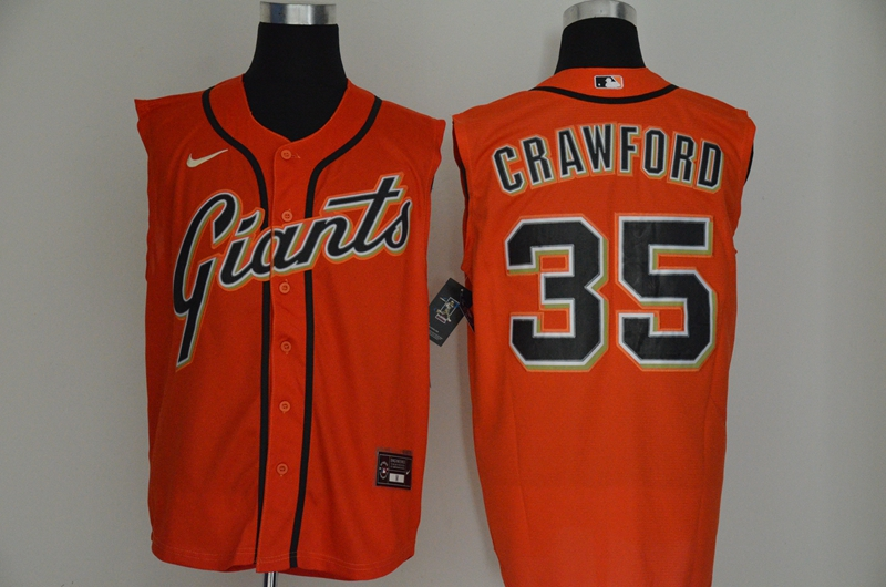 Giants 35 Brandon Crawford Orange Nike Cool Base Sleeveless Jersey