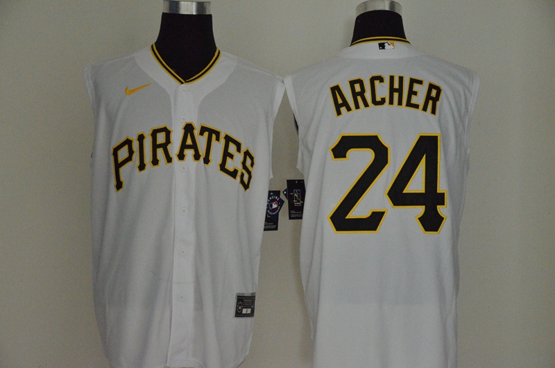 Pirates 24 Chris Archer White Nike Cool Base Sleeveless Jersey
