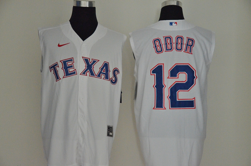 Rangers 12 Rougned Odor White Nike Cool Base Sleeveless Jersey
