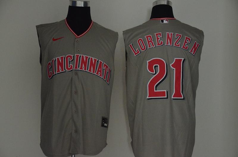 Reds 21 Michael Lorenzen Gray Nike Cool Base Sleeveless Jersey