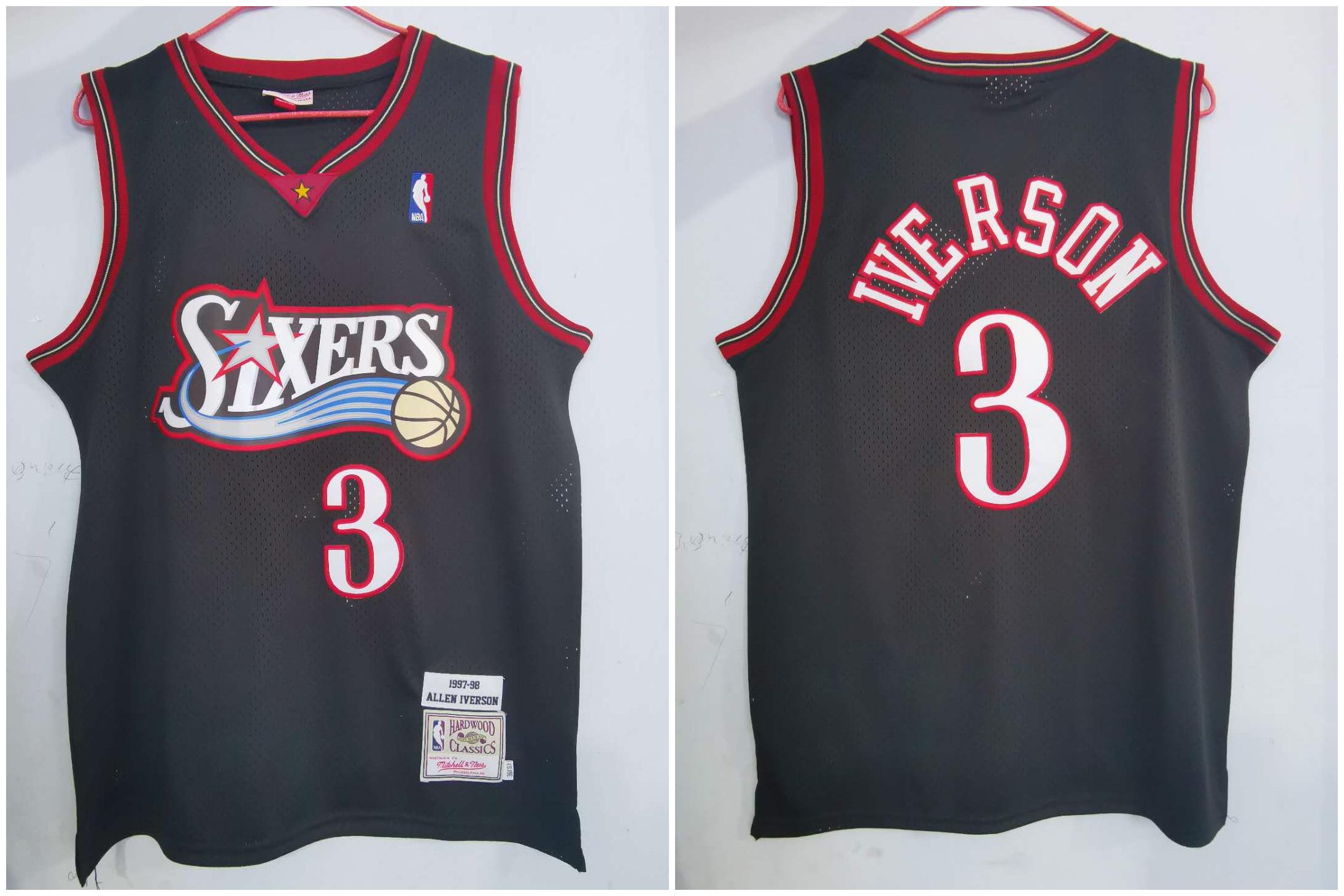 76ers 3 Allen Iverson Black 1997-98 Hardwood Classics Jersey