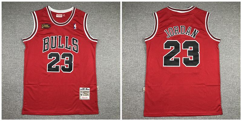 Bulls 23 Michael Jordan Red NBA Finals 1997-98 Hardwood Classics Jersey