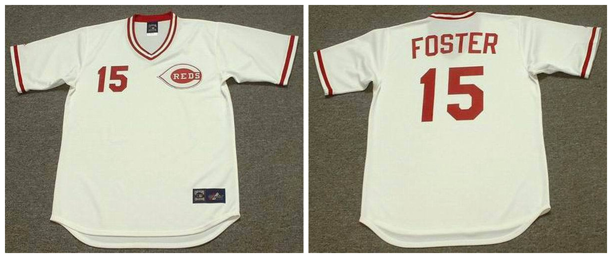 Reds 15 George Foster White 1975's Throwback Cool Base Jersey