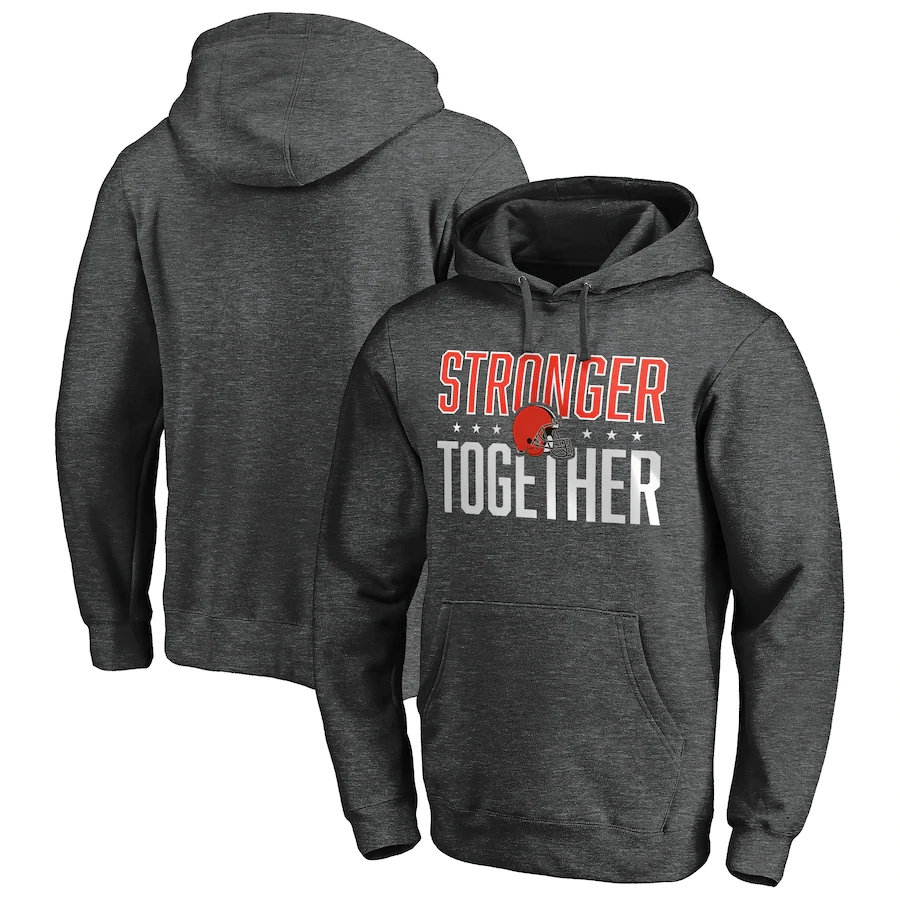 Cleveland Browns Heather Charcoal Stronger Together Pullover Hoodie