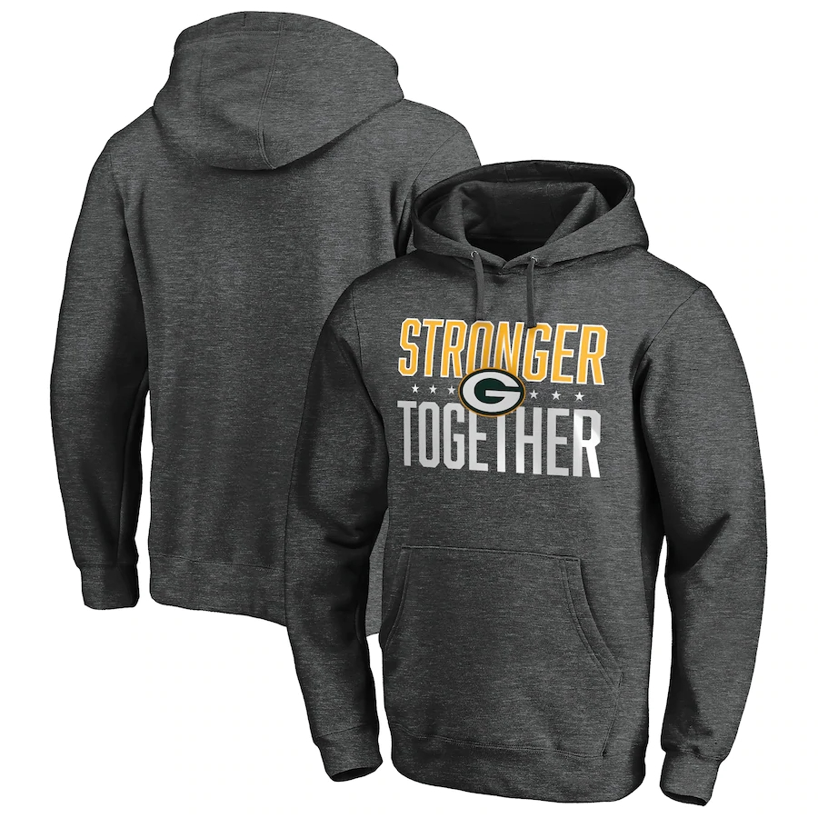 Green Bay Packers Heather Charcoal Stronger Together Pullover Hoodie