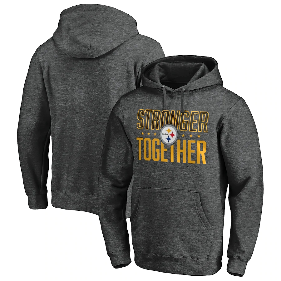 Pittsburgh Steelers Heather Charcoal Stronger Together Pullover Hoodie