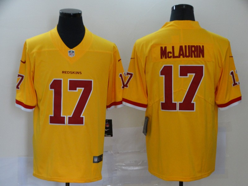 Nike Redskins 17 Terry McLaurin Yellow Color Rush Limited Jersey