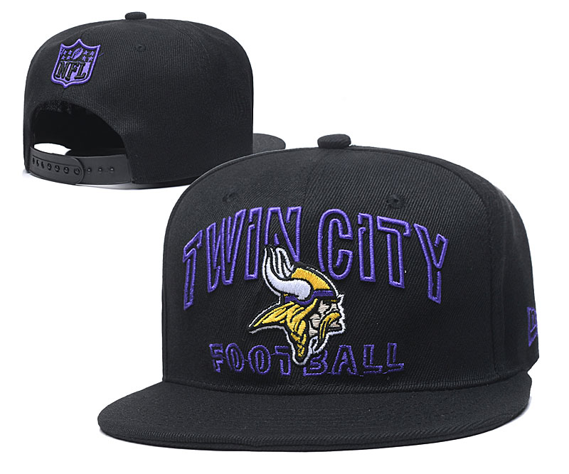 Vikings Team Logo Black Adjustable Hat YD