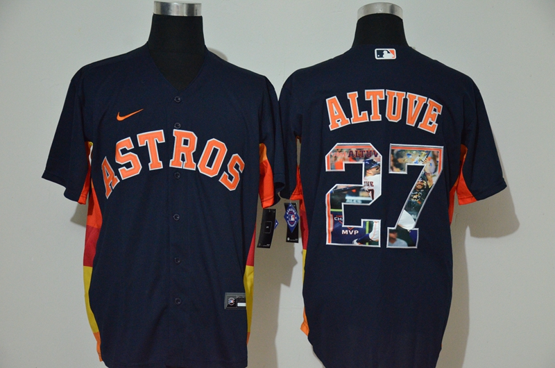 Astros 27 Jose Altuve Navy Nike Cool Base Player Jersey