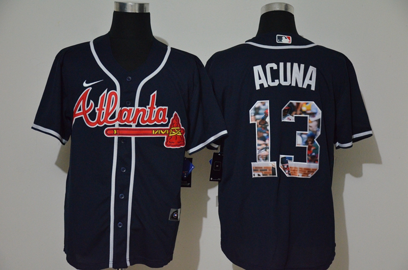 Braves 13 Ronald Acuna Jr. Navy Nike Cool Base Player Jersey