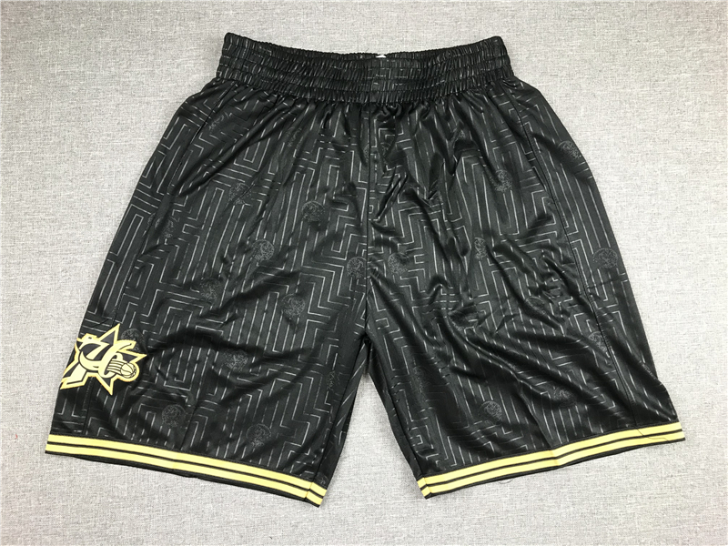 76ers Black Stitched Shorts