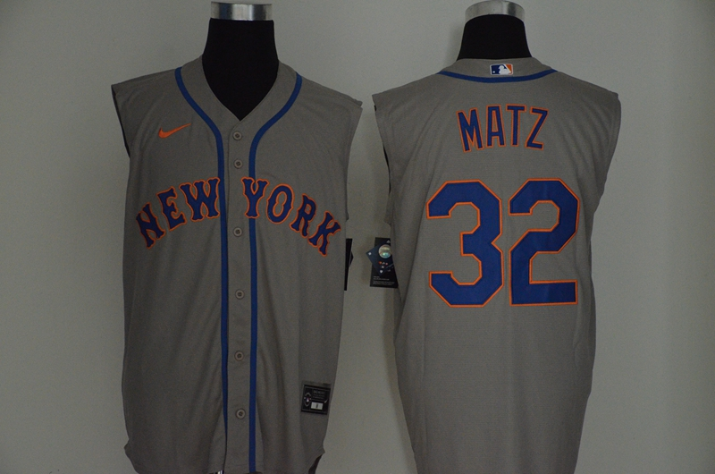 Mets 32 Steven Matz Gray Nike Cool Base Sleeveless Jersey