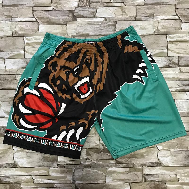 Grizzlies Green Black Big Face With Pocket Swingman Shorts