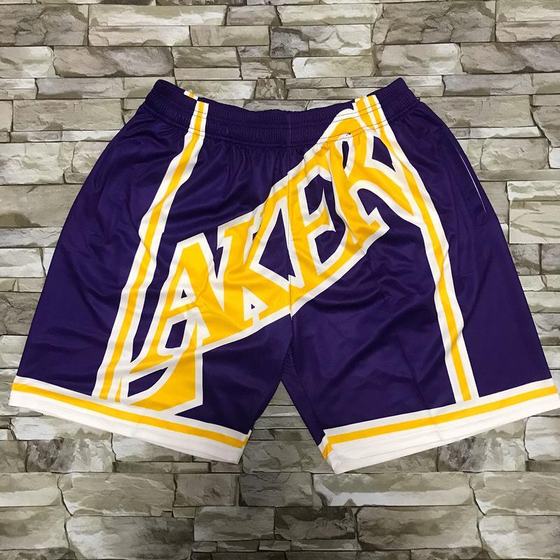 Lakers Purple Black Big Face With Pocket Swingman Shorts