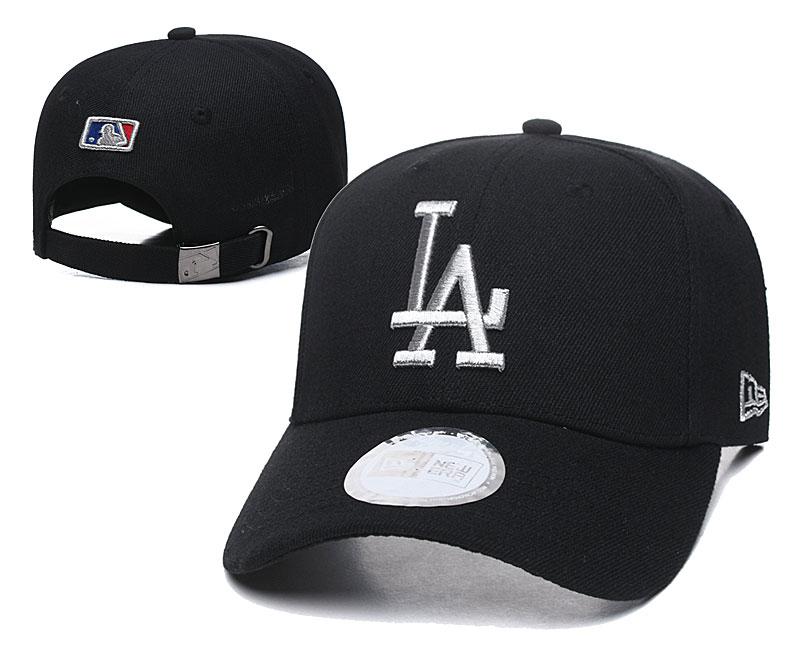 Dodgers Team Logo Black Peaked Adjustable Hat TX