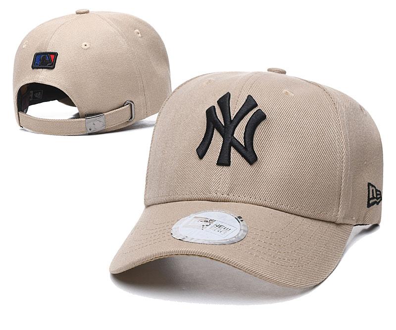 Yankees Team Logo Cream Peaked Adjustable Hat TX