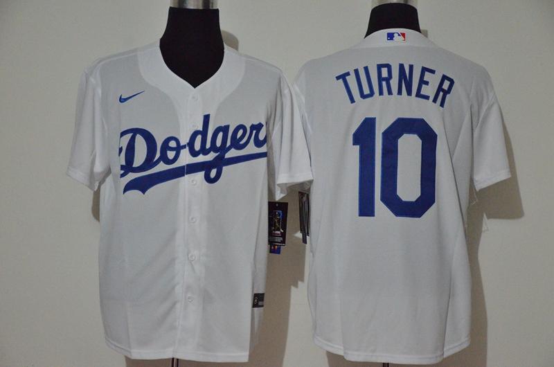 Dodgers 10 Justin Turner White 2020 Nike Cool Base Jersey