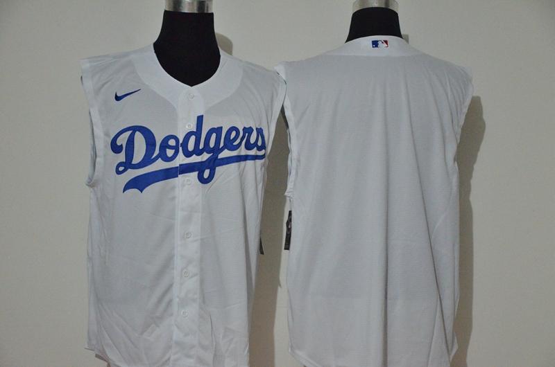 Dodgers Blank White Nike Cool Base Sleeveless Jersey