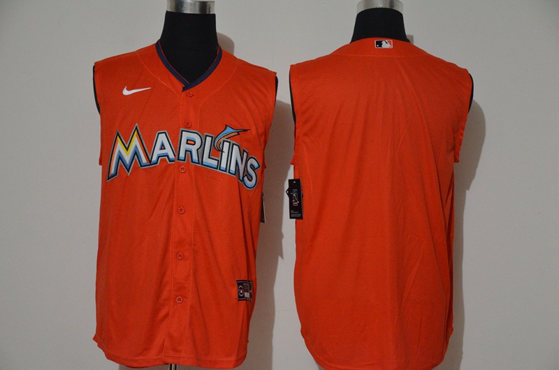 Marlins Blank Orange Nike Cool Base Sleeveless Jersey