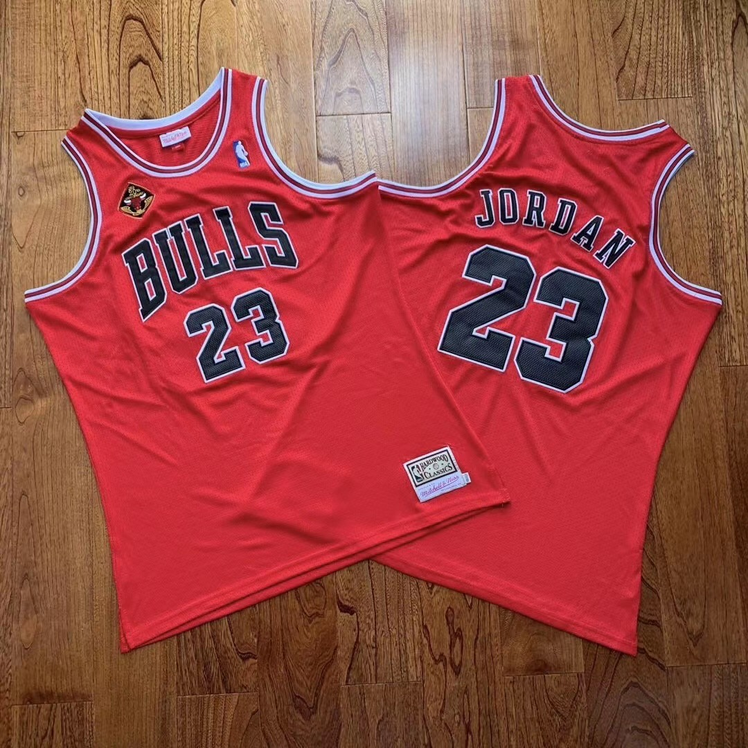 Bulls 23 Michael Jordan Red 20th Anniversary Champions Hardwood Classics Jersey