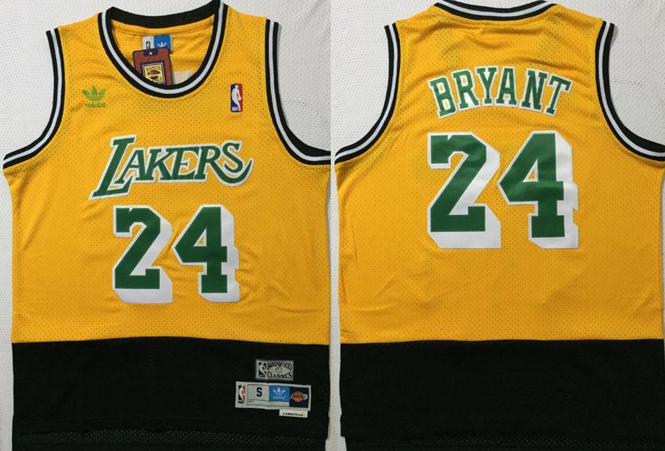 Lakers 24 Kobe Bryant Yellow Black Split Hardwood Classics Jersey