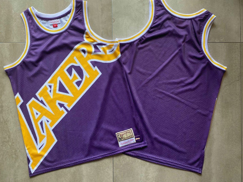 Lakers Big Face Purple Hardwood Classics Swingman Jersey
