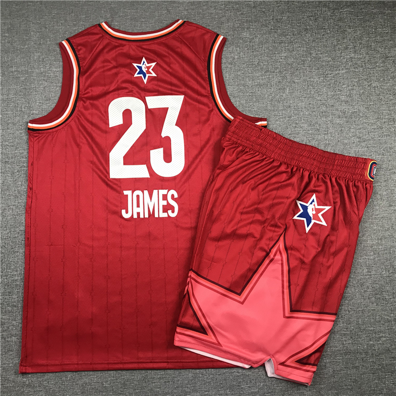 Lakers 23 Lebron James Red 2020 NBA All-Star Jordan Brand Swingman Jersey(With Shorts)