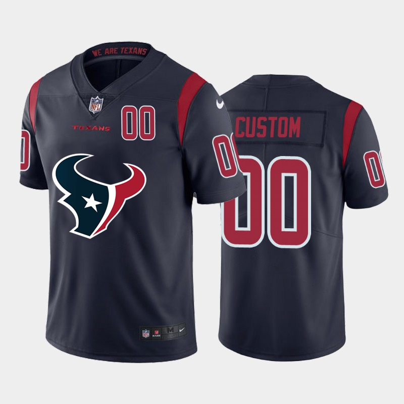 Nike Texans Customized Navy Team Big Logo Number Color Rush Limited Jersey