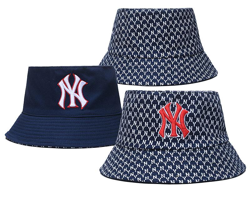Yankees Team Logo Navy Double Side Wide Brim Hat SG