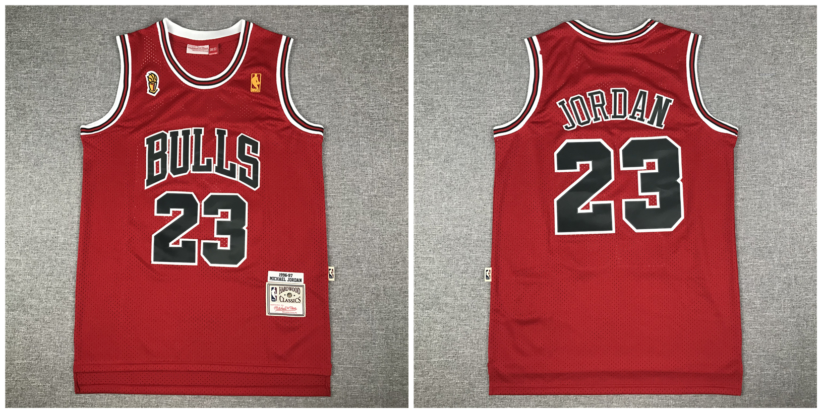 Bulls 23 Michael Jordan Red NBA Champions Patch 1996-97 Hardwood Classics Jersey