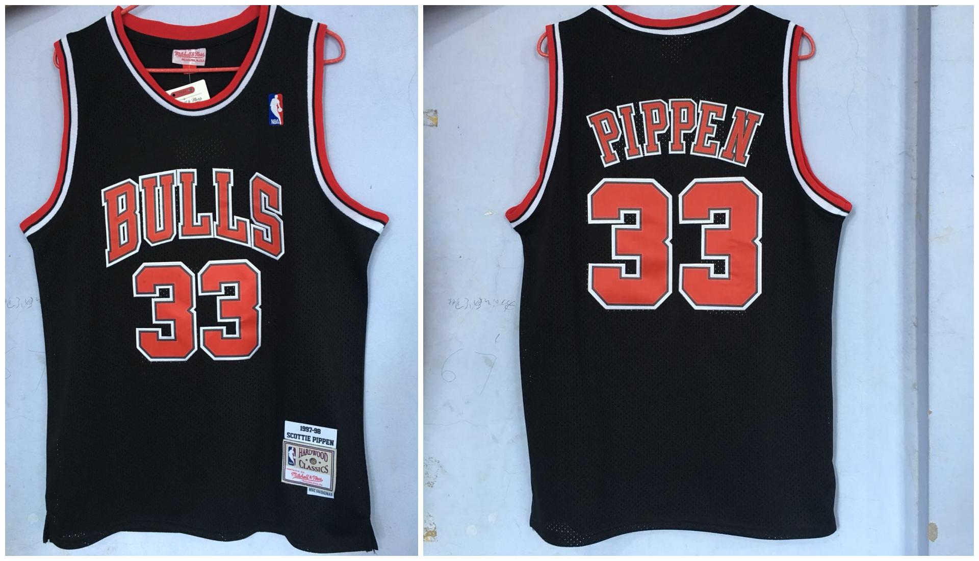 Bulls 33 Scottie Pippen Black 1997-98 Hardwood Classics Jersey