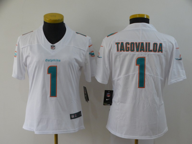 Nike Dolphins 1 Tua Tagovailoa White Women 2020 NFL Draft First Round Pick Vapor Untouchable Limited Jersey