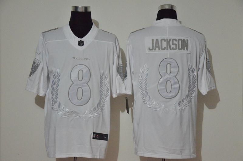 Nike Ravens 8 Lamar Jackson White Vapor Untouchable Limited Fashion Jersey