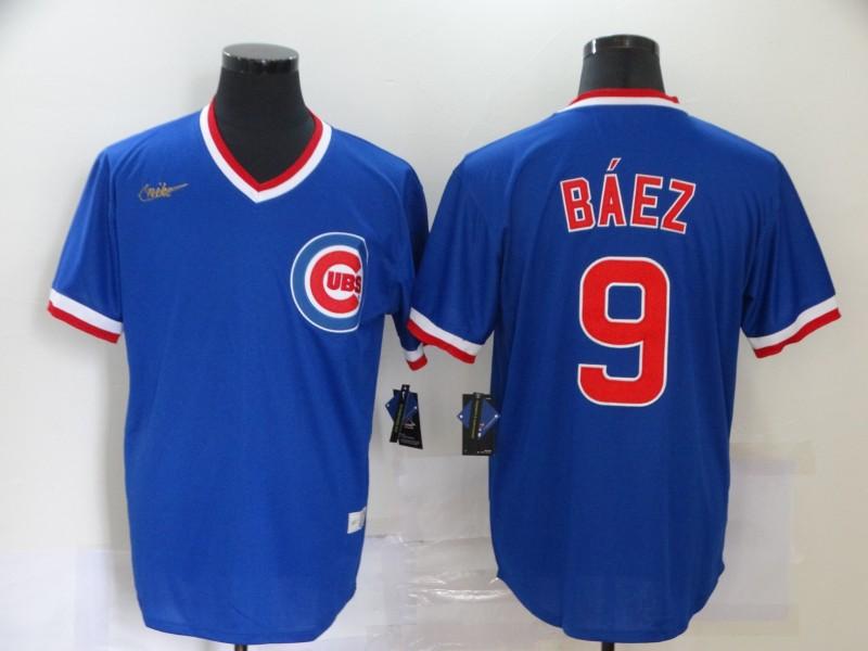 Cubs 9 Javier Baez Royal Nike Cool Base Throwback Jersey