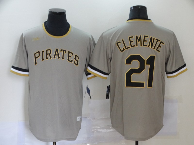 Pirates 21 Roberto Clemente Gray Nike Cool Base Throwback Jersey