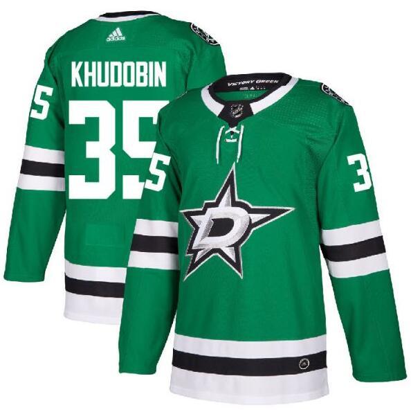 Stars 35 Anton Khudobin Green Adidas Jersey