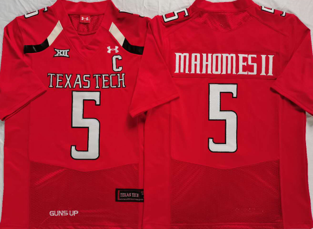 Texas Tech Red Raiders 5 Patrick Mahomes II Red C Patch College Football Jersey