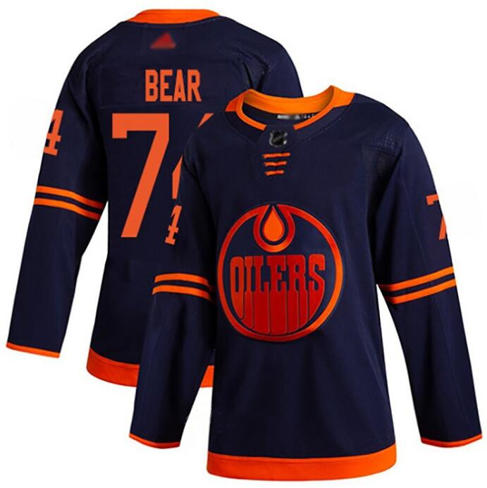 Oilers 74 Ethan Bear Navy Adidas Jersey