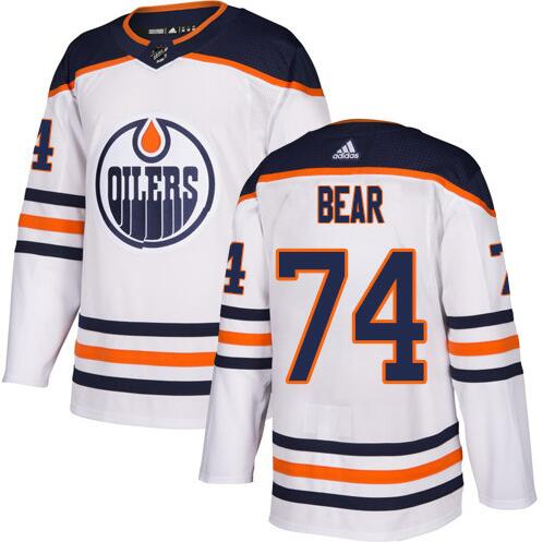Oilers 74 Ethan Bear White Adidas Jersey