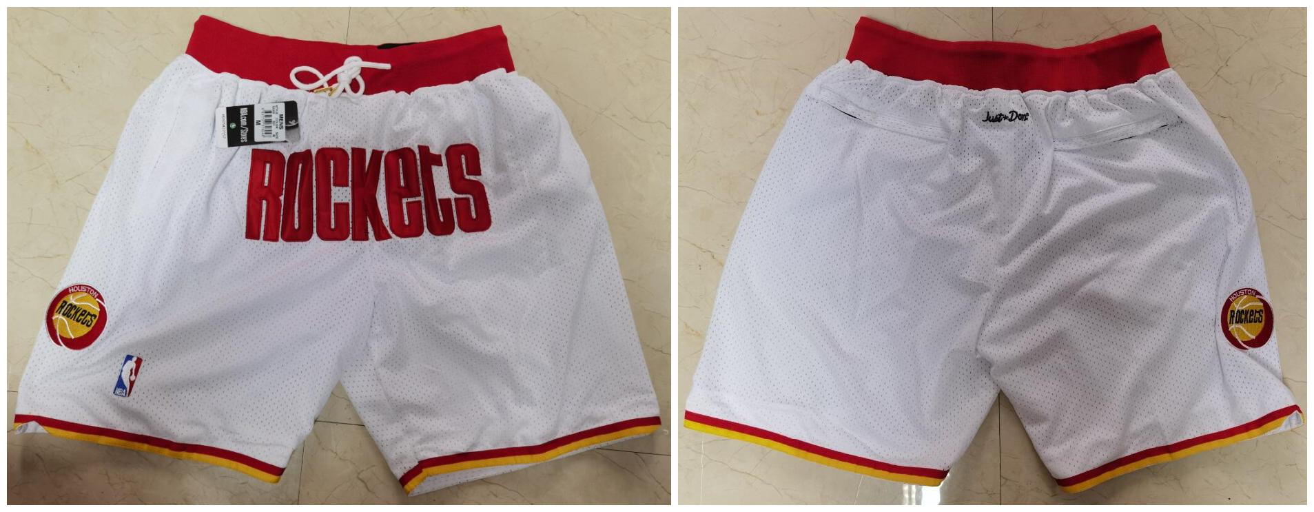 Rockets White Just Don With Pocket Swingman Shorts
