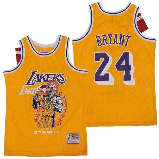 Lakers 24 Kobe Bryant Yellow Hardwood Classics Skull Edition Jersey