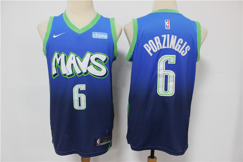 Mavericks 6 Kristaps Porzingis Blue 2020 City Edition Nike Swingman Jersey