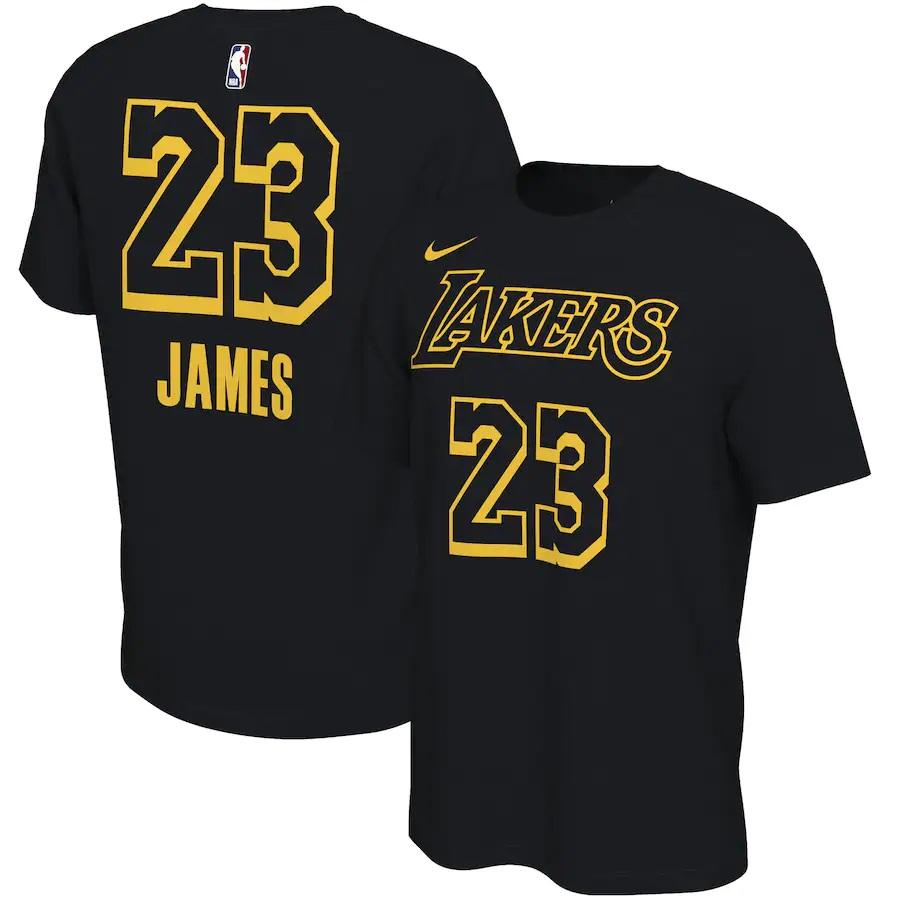 Lakers 23 LeBron James Black Nike Restart Name & Number T-Shirt