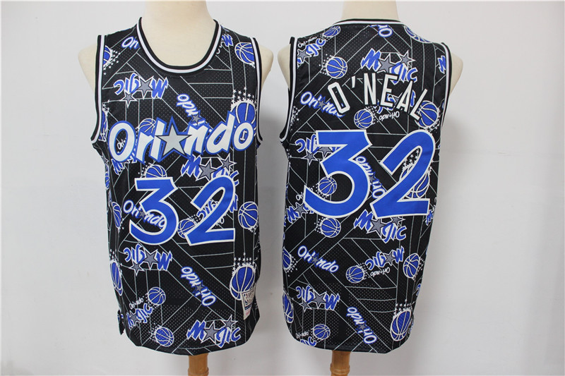 Magic 32 Shaquille O'Neal Black Tear Up Pack Hardwood Classics Swingman Jersey